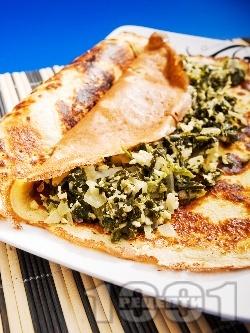 Солени палачинки със спанак и сирене - снимка на рецептата